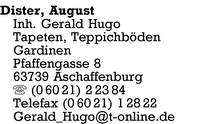 Dister Inh. Gerald Hugo, August